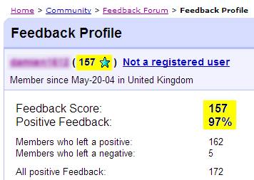 eBay Feedback Profile